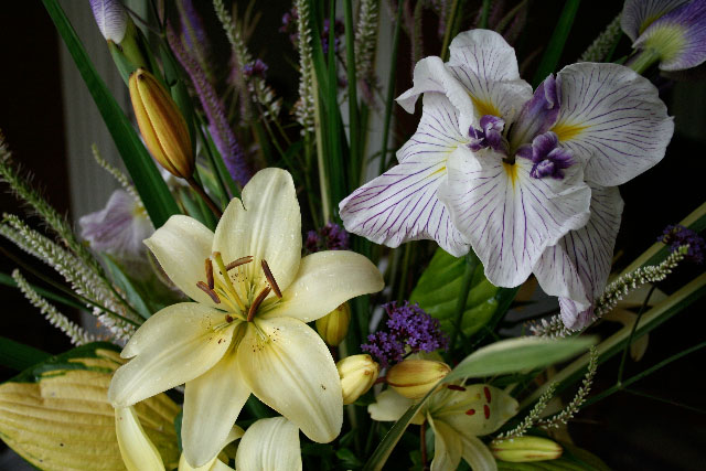 Flowers for Special Events: Japanese iris and lilies